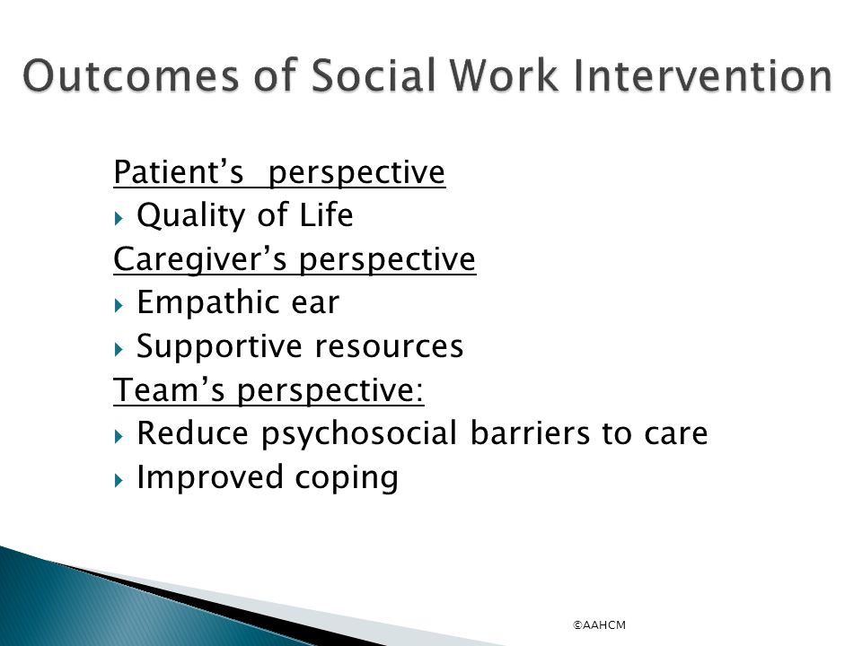 Outcomes of Social Work Intervention