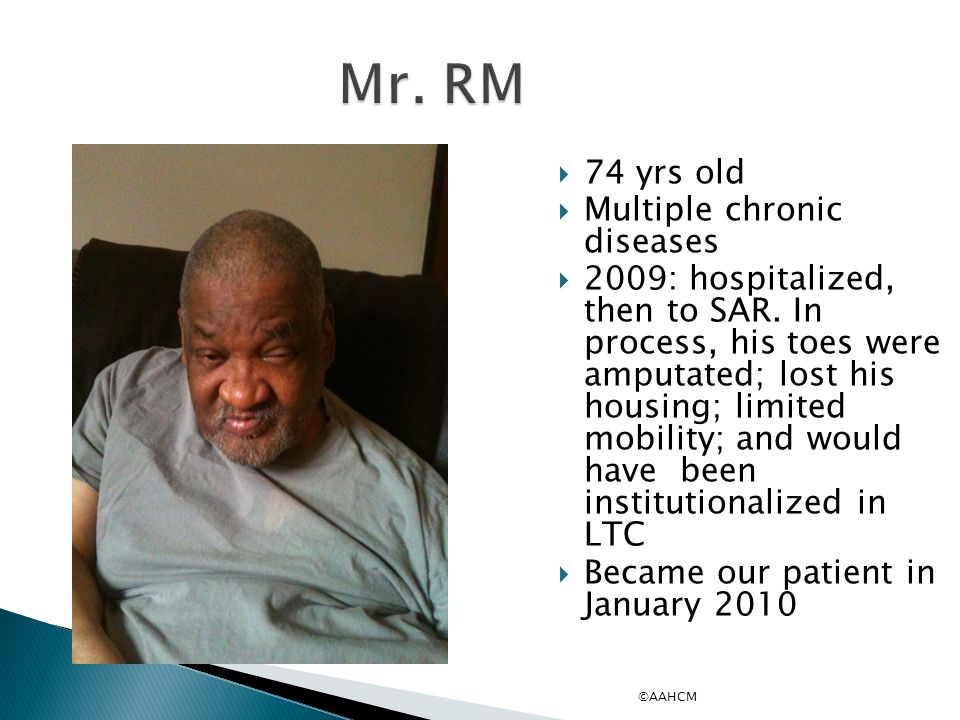 Mr. RM 74 yrs old Multiple chronic diseases