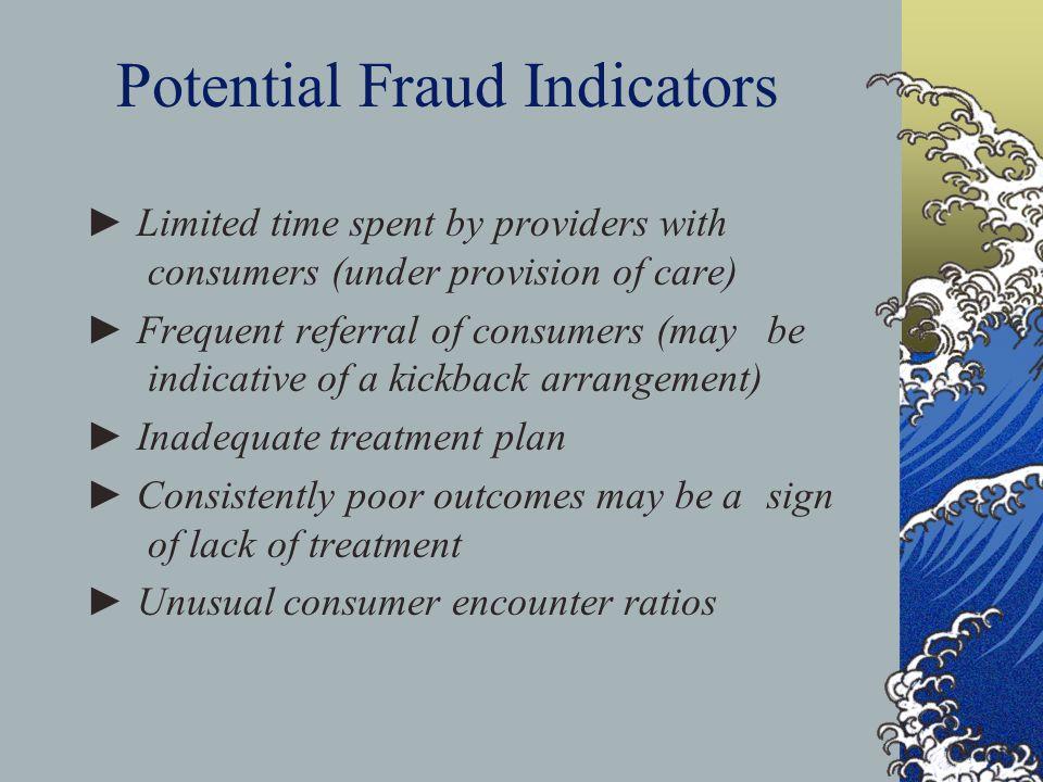 Potential Fraud Indicators