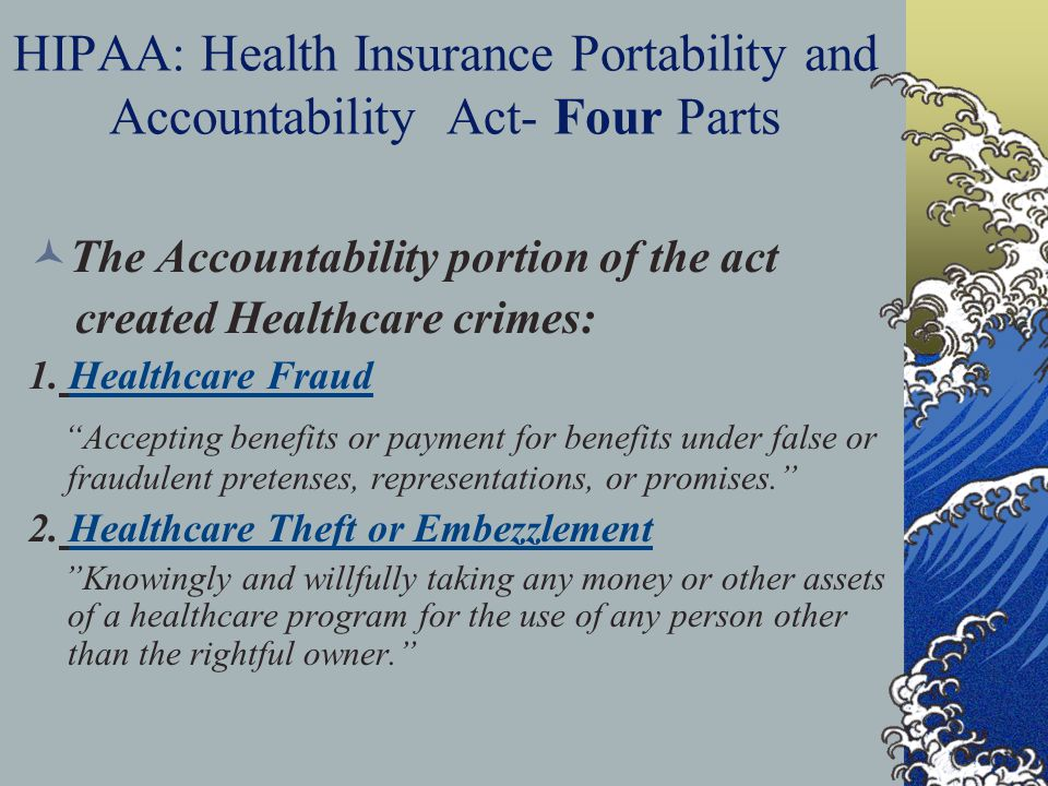 HIPAA: Health Insurance Portability and Accountability Act- Four Parts