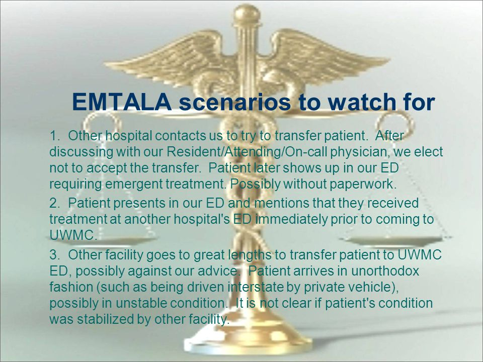 EMTALA scenarios to watch for