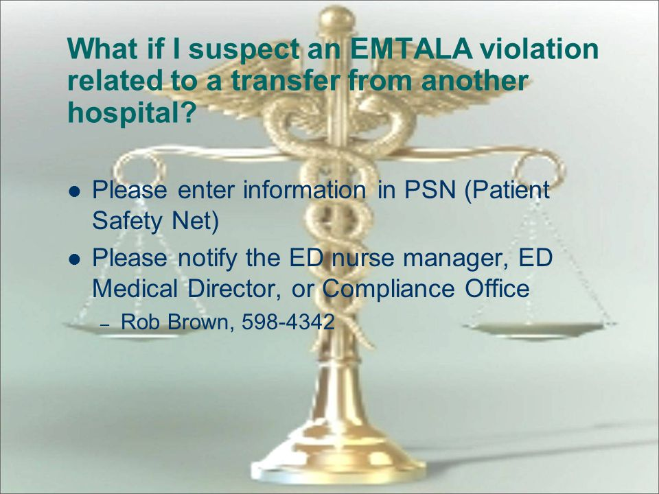 What if I suspect an EMTALA violation related to a transfer from another hospital