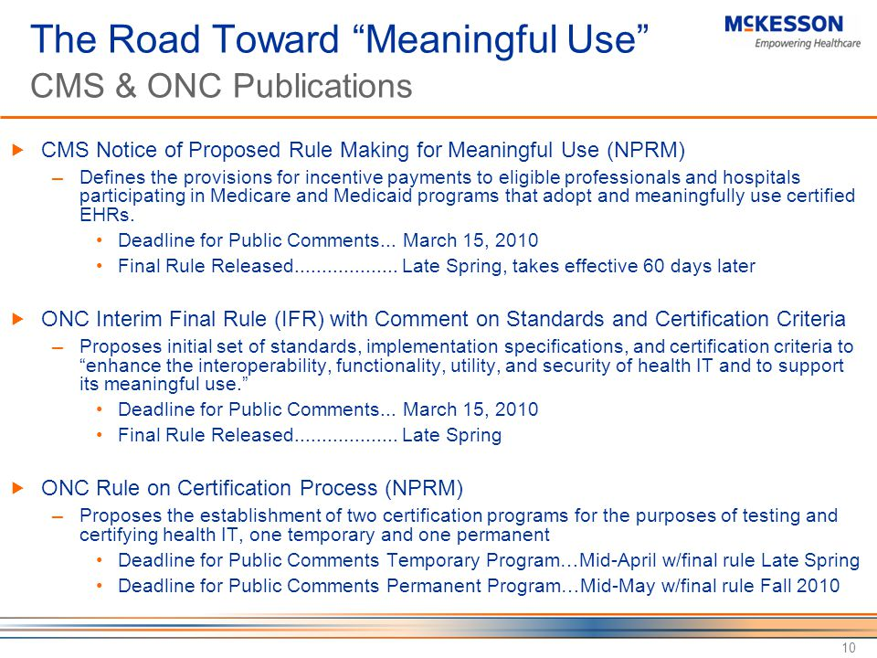 The Road Toward Meaningful Use CMS & ONC Publications