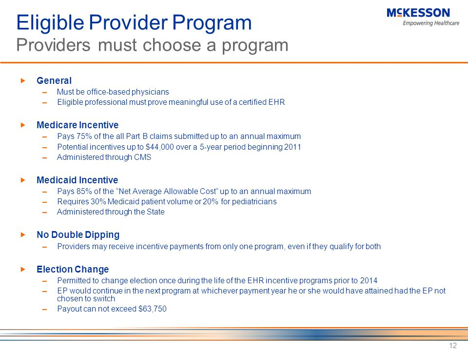 Eligible Provider Program Providers must choose a program
