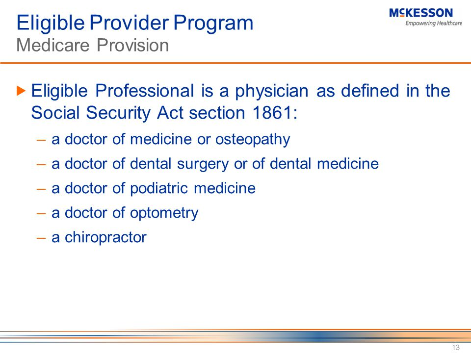 Eligible Provider Program Medicare Provision