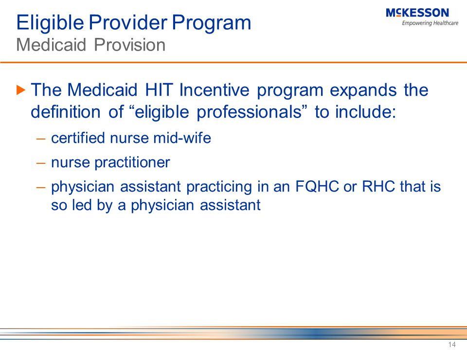 Eligible Provider Program Medicaid Provision