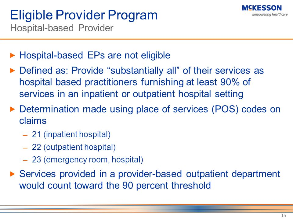 Eligible Provider Program Hospital-based Provider