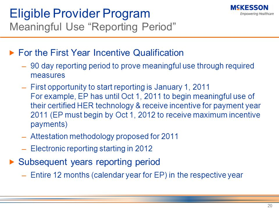 Eligible Provider Program Meaningful Use Reporting Period