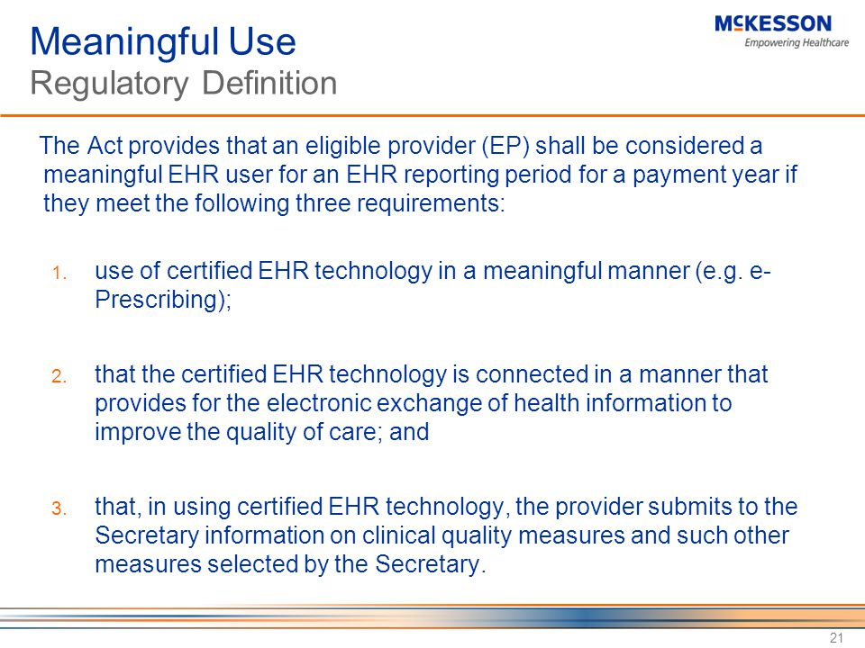 Meaningful Use Regulatory Definition