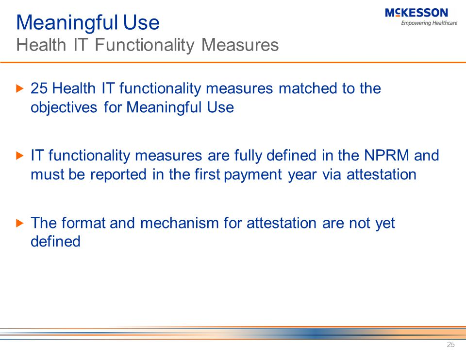 Meaningful Use Health IT Functionality Measures