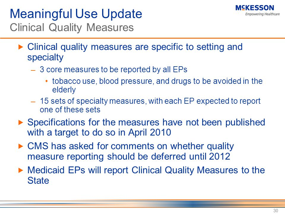 Meaningful Use Update Clinical Quality Measures