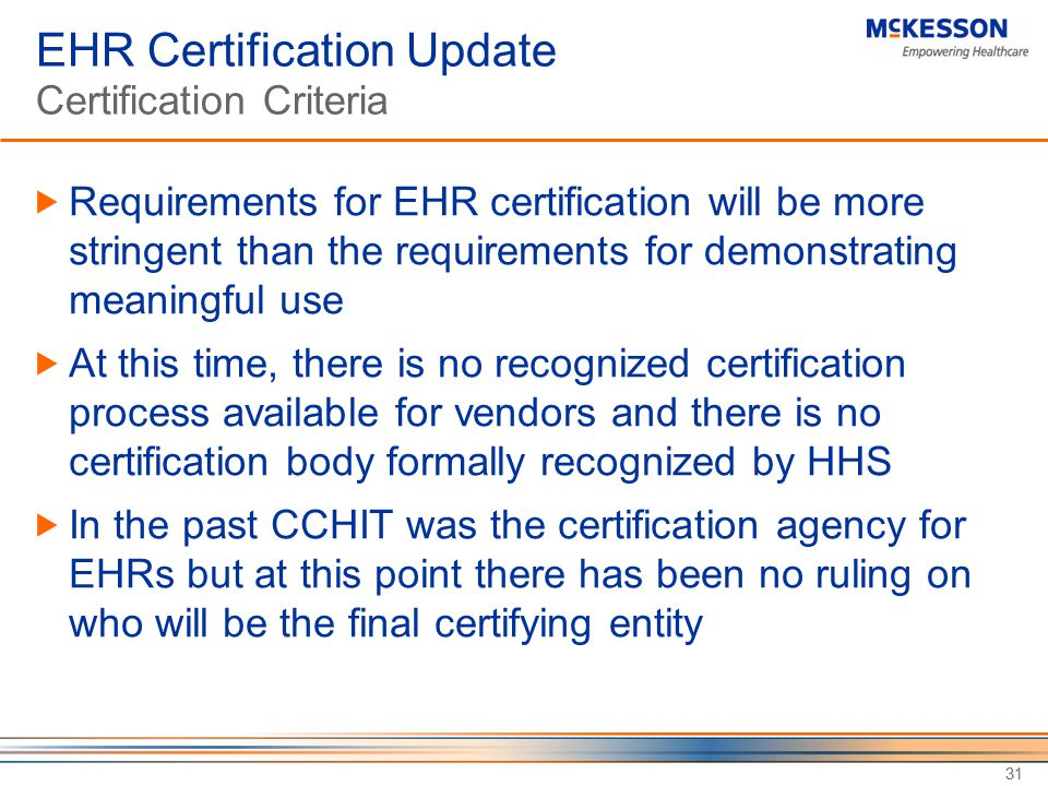 EHR Certification Update Certification Criteria