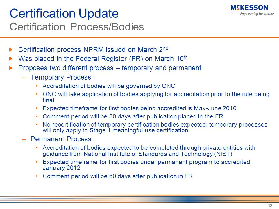 Certification Update Certification Process/Bodies