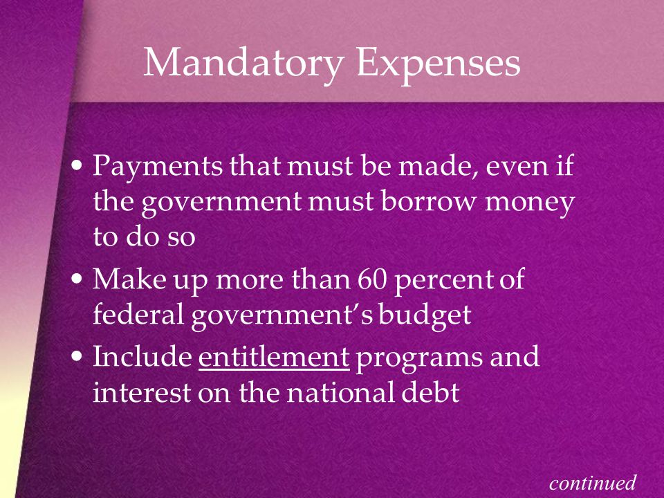 Mandatory Expenses Payments that must be made, even if the government must borrow money to do so.