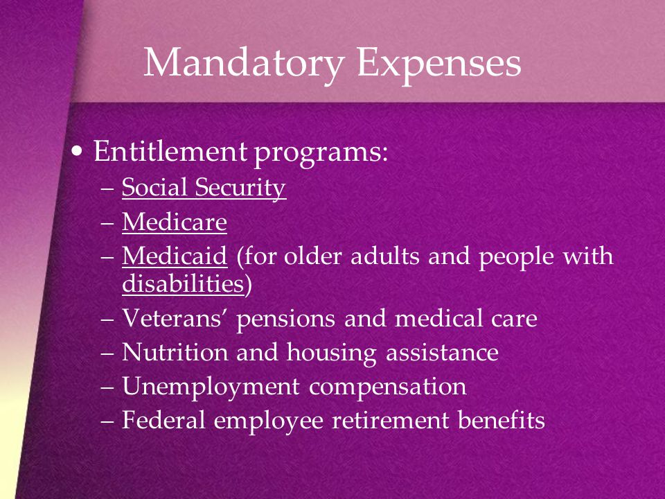 Mandatory Expenses Entitlement programs: Social Security Medicare