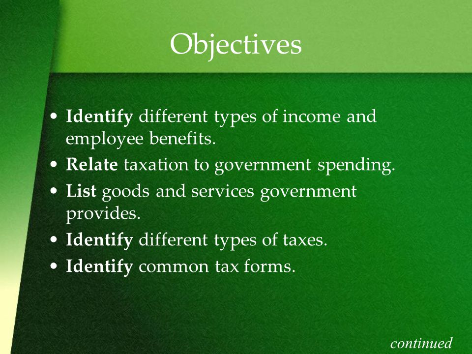 Objectives Identify different types of income and employee benefits.