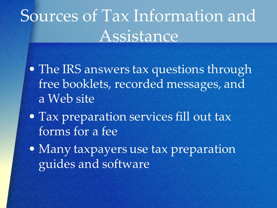 Sources of Tax Information and Assistance