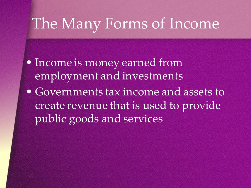 The Many Forms of Income