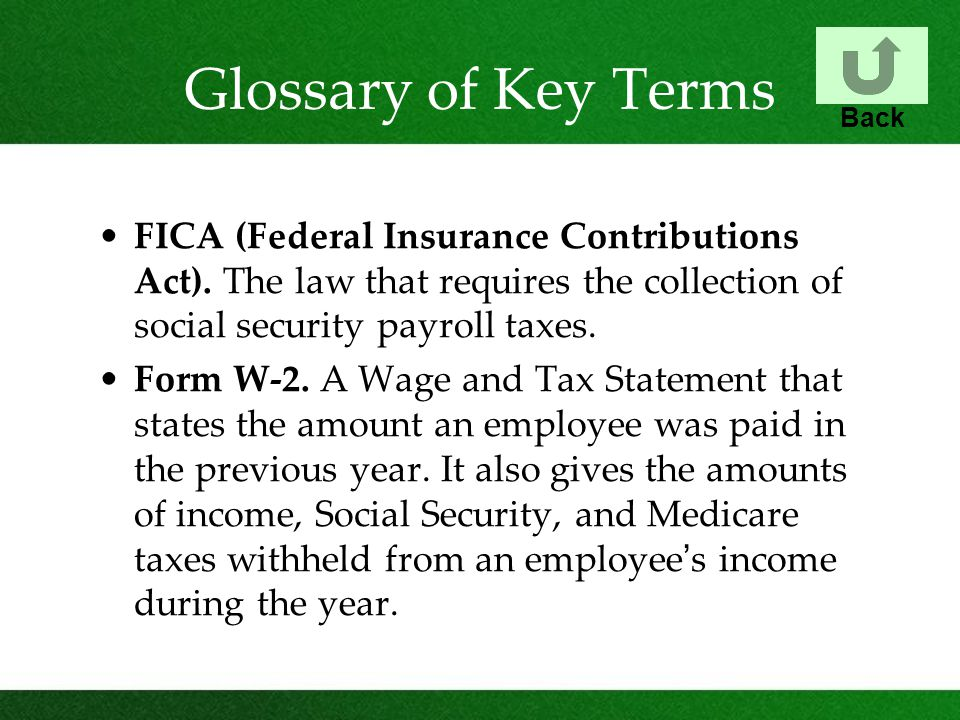 Glossary of Key Terms Back. FICA (Federal Insurance Contributions Act). The law that requires the collection of social security payroll taxes.