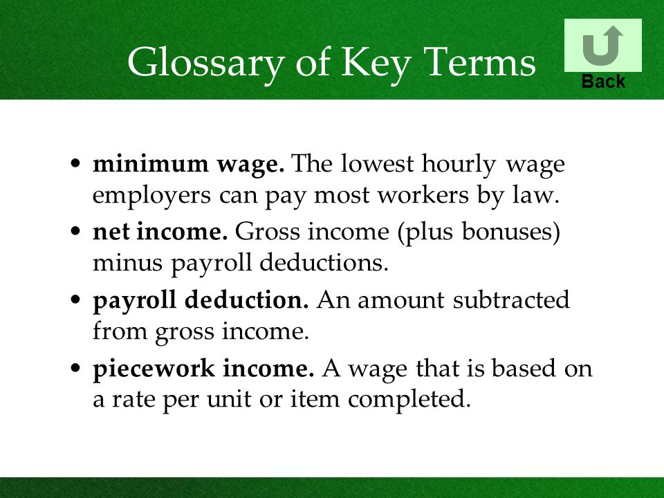 Glossary of Key Terms Back. minimum wage. The lowest hourly wage employers can pay most workers by law.