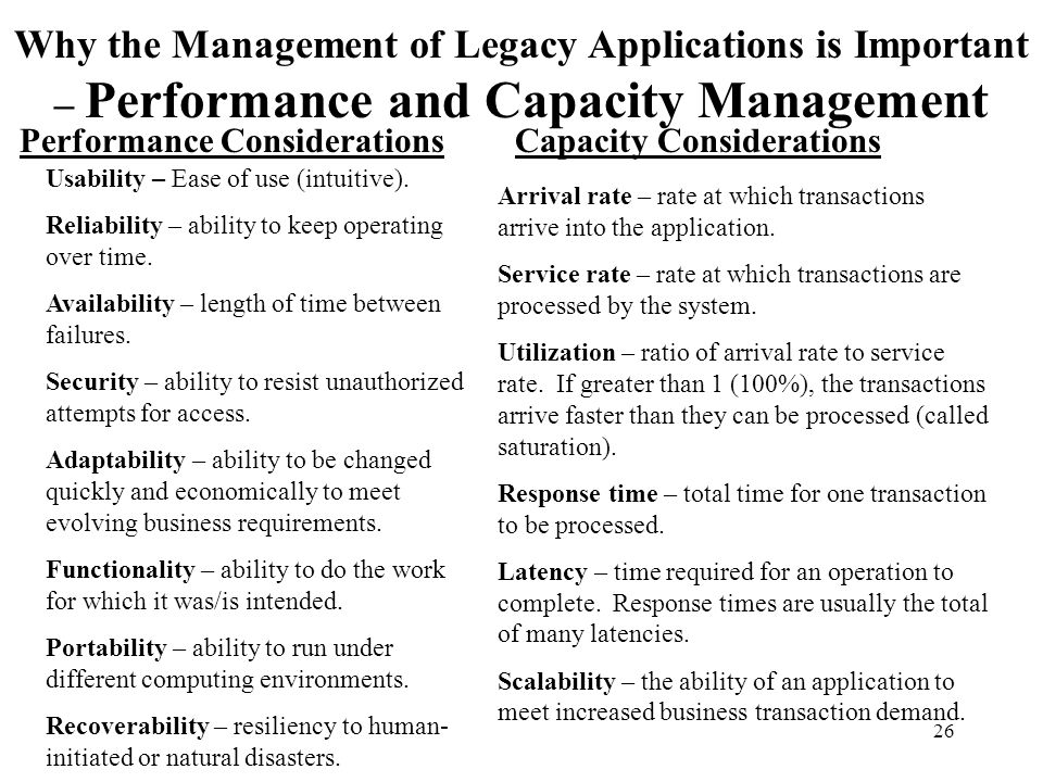 Why the Management of Legacy Applications is Important – Performance and Capacity Management