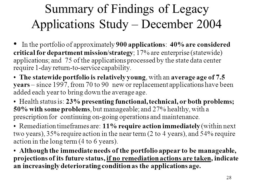 Summary of Findings of Legacy Applications Study – December 2004