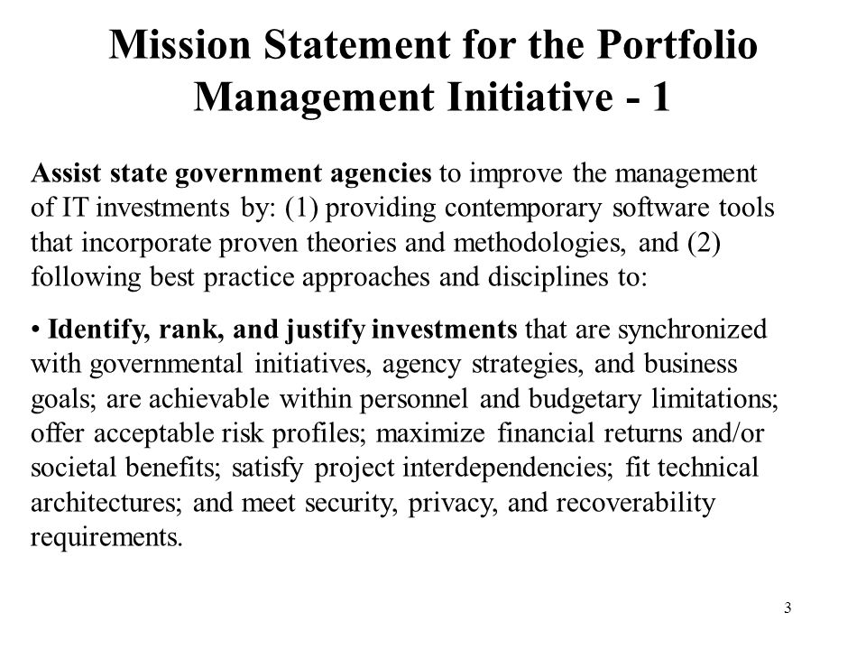 Mission Statement for the Portfolio Management Initiative - 1