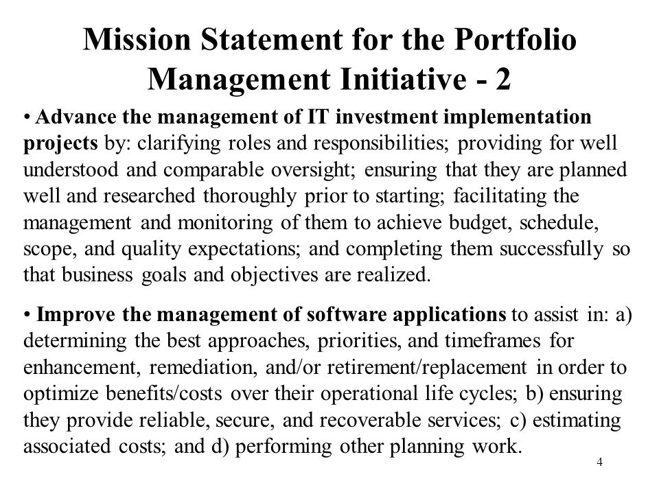 Mission Statement for the Portfolio Management Initiative - 2