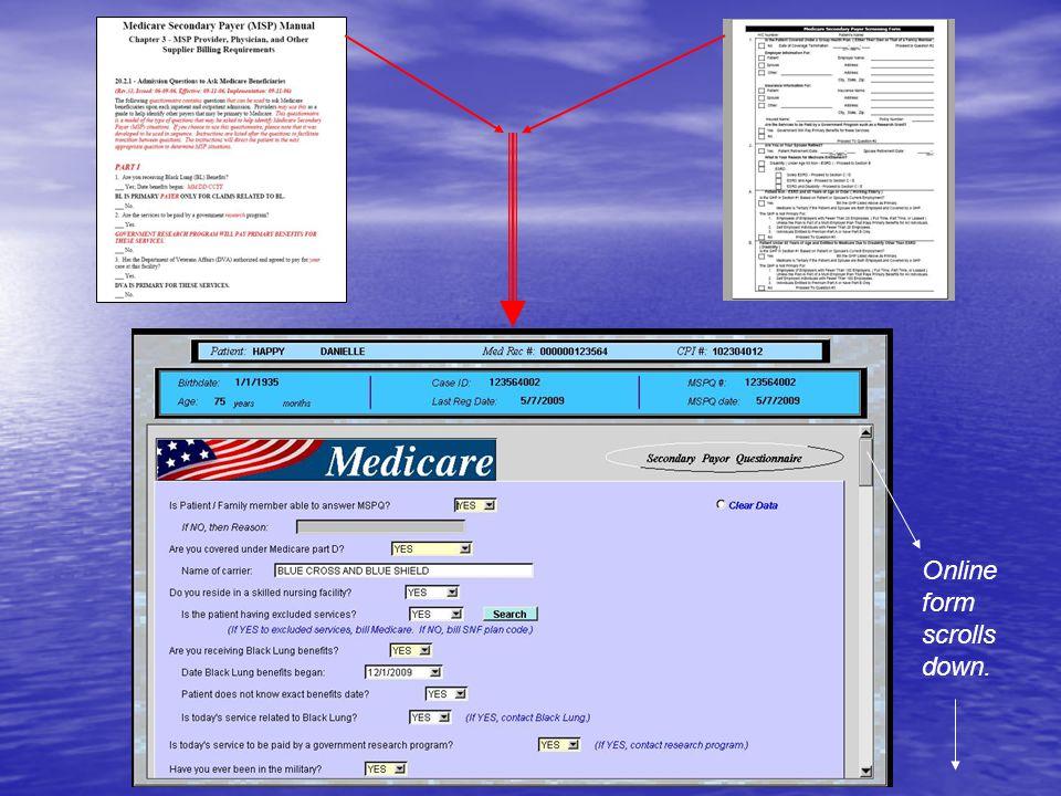 Online form scrolls down.