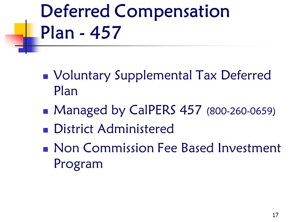 Deferred Compensation Plan - 457