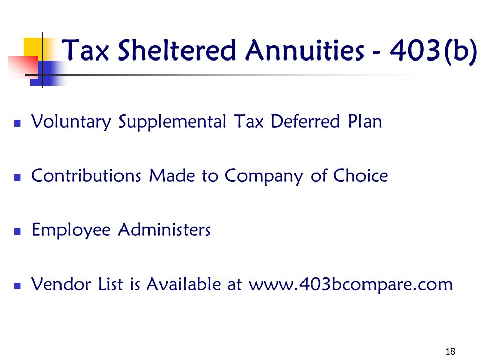 Tax Sheltered Annuities - 403(b)