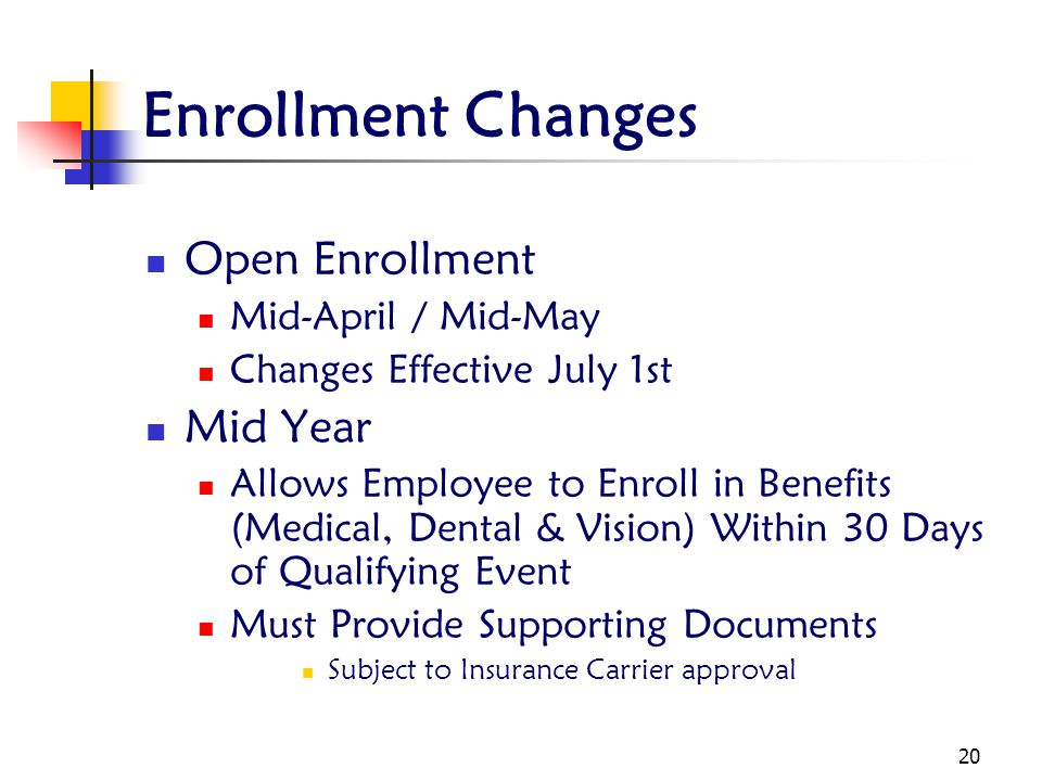 Enrollment Changes Open Enrollment Mid Year Mid-April / Mid-May