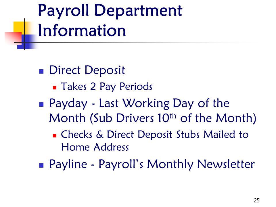 Payroll Department Information