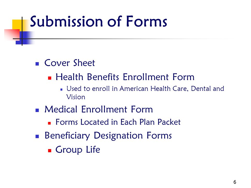 Submission of Forms Cover Sheet Health Benefits Enrollment Form