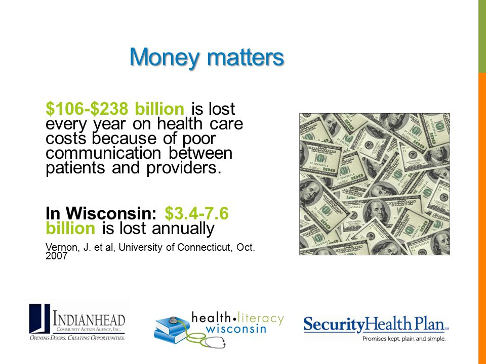 Money matters $106-$238 billion is lost every year on health care costs because of poor communication between patients and providers.