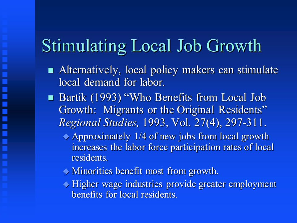 Stimulating Local Job Growth