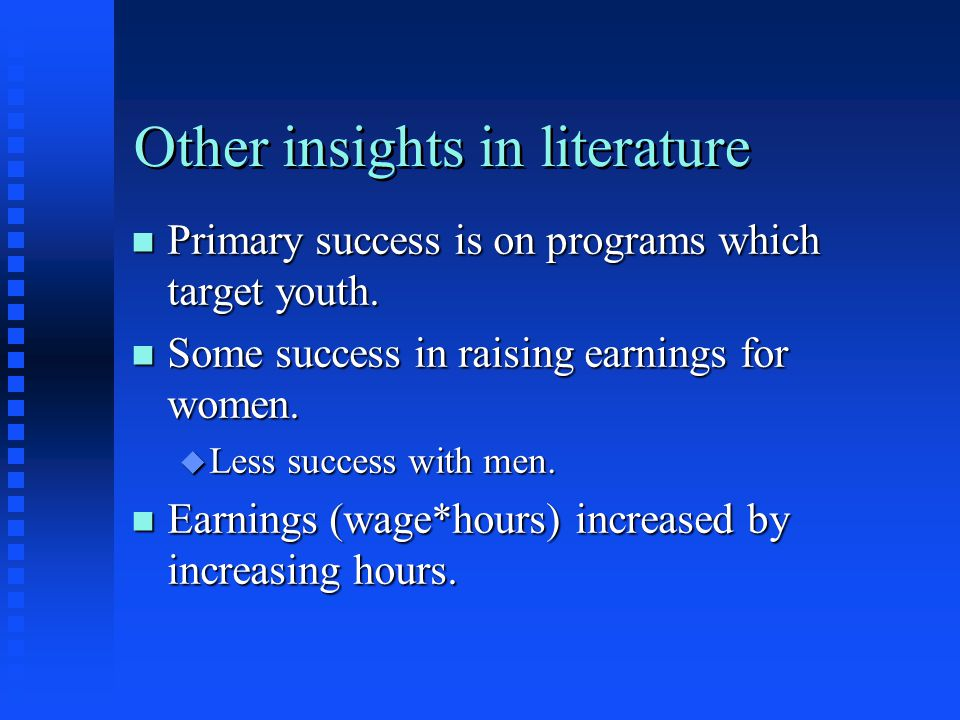 Other insights in literature
