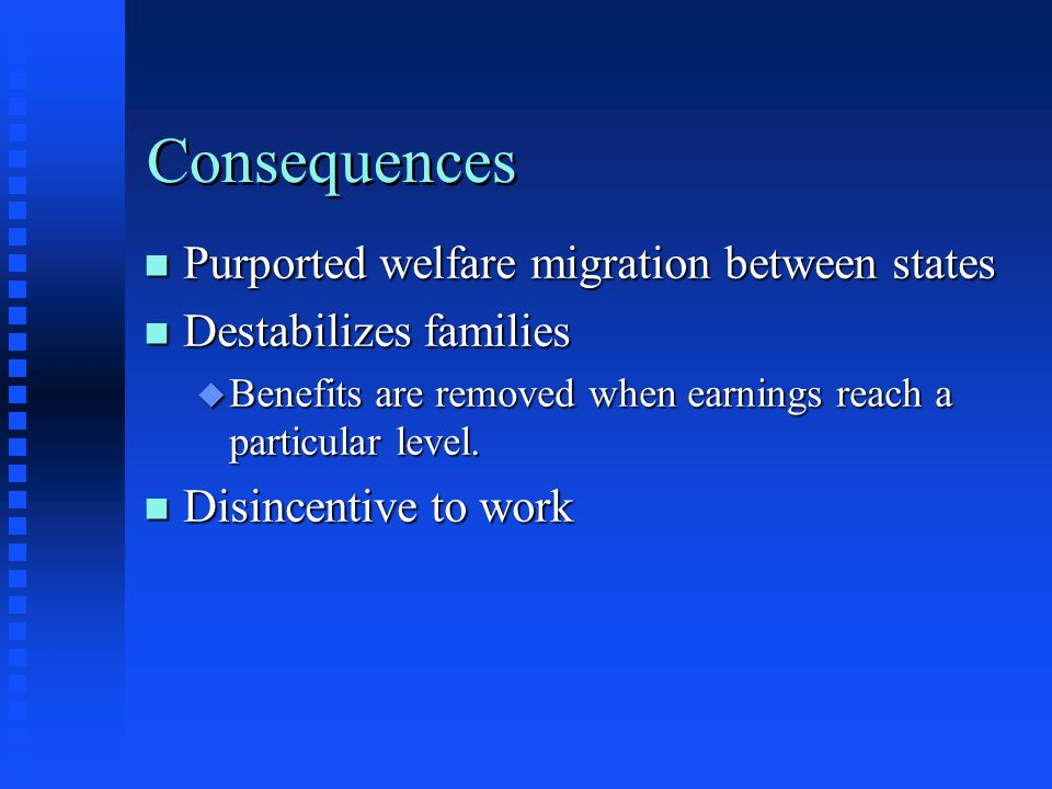 Consequences Purported welfare migration between states