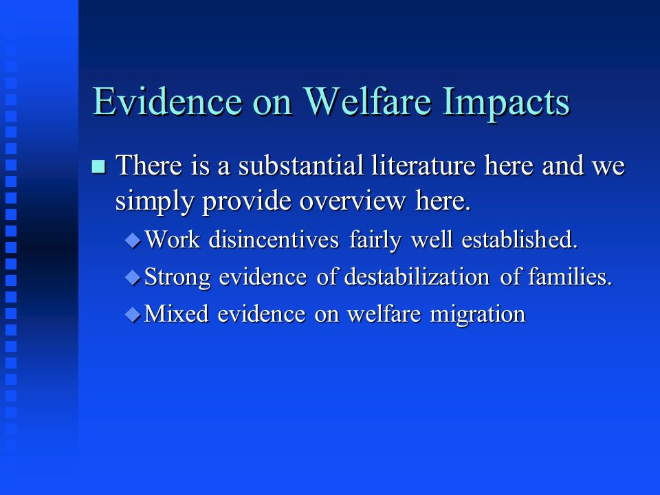 Evidence on Welfare Impacts