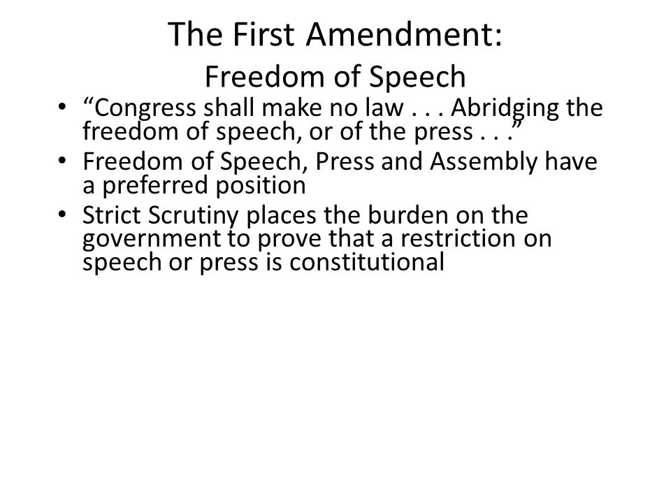 The First Amendment: Freedom of Speech