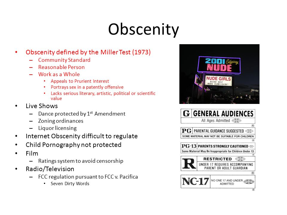 Obscenity Obscenity defined by the Miller Test (1973) Live Shows