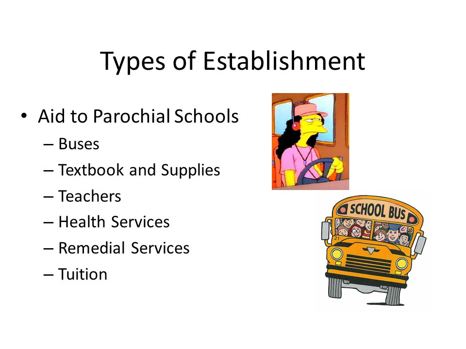 Types of Establishment