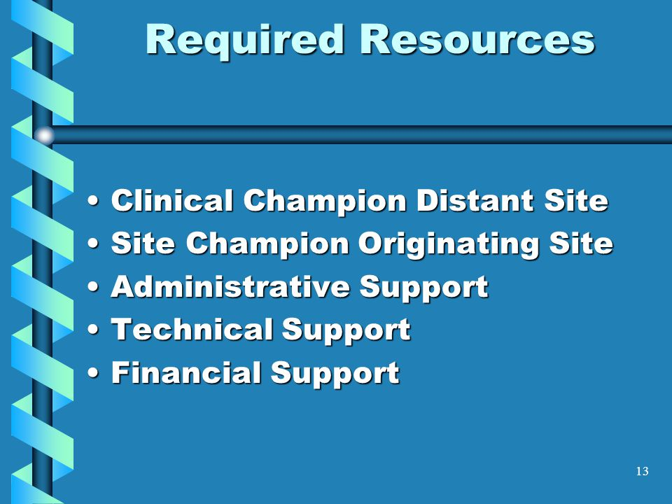 Required Resources Clinical Champion Distant Site