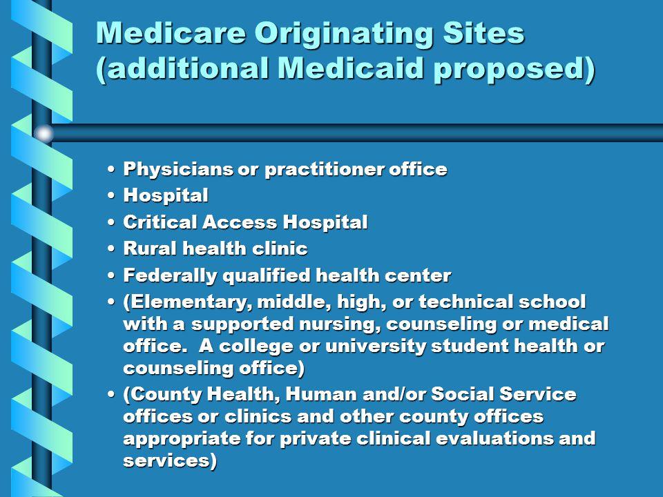 Medicare Originating Sites (additional Medicaid proposed)