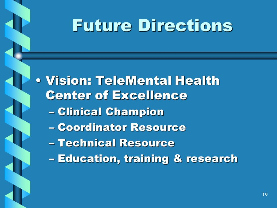 Future Directions Vision: TeleMental Health Center of Excellence