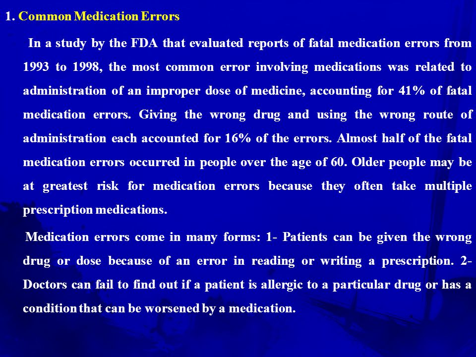 1. Common Medication Errors