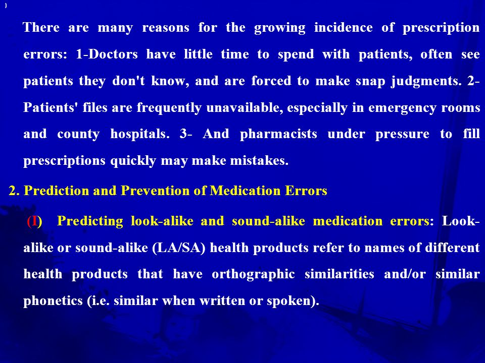 2. Prediction and Prevention of Medication Errors