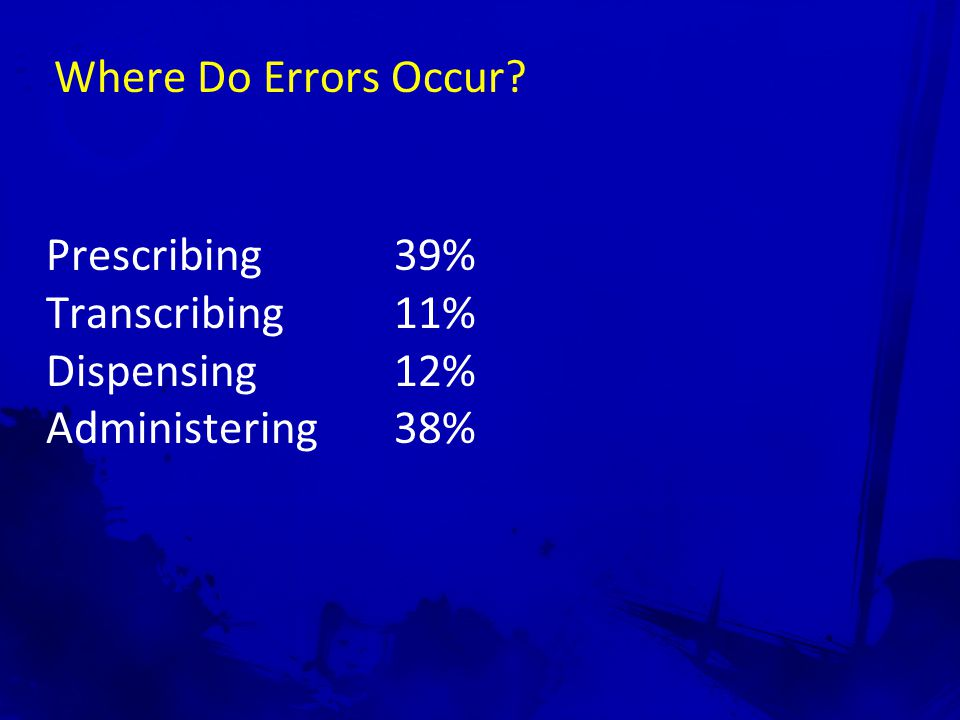 Where Do Errors Occur Prescribing 39% Transcribing 11% Dispensing 12% Administering 38%