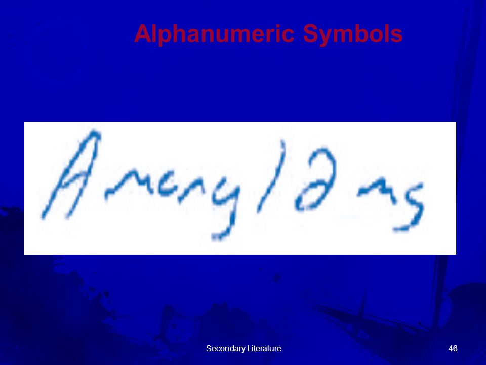 Alphanumeric Symbols Secondary Literature