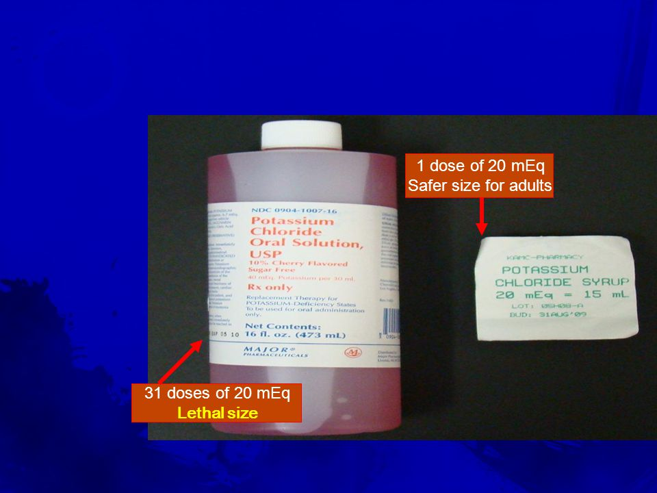 Unit Dose System 1 dose of 20 mEq Safer size for adults